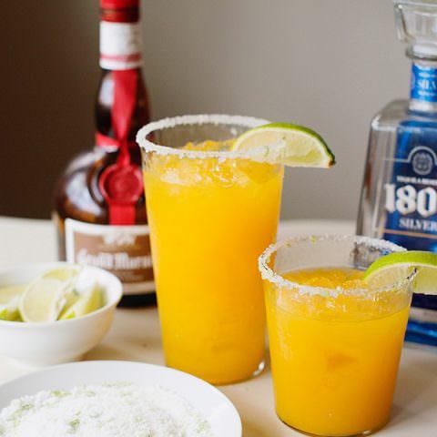 Mango Margaritas with Sugar Salt Lime Rim