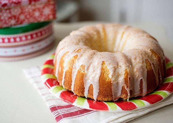 Eggnog Swirl Bundt Cake with Eggnog Galze