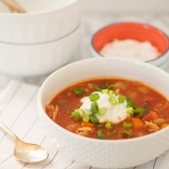 Slow Cooker Buffalo Chicken Chili with Blue Cheese Sour Cream