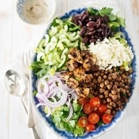 Chopped Salad with Spiced Chickpeas and Tarragon Tahini Dressing
