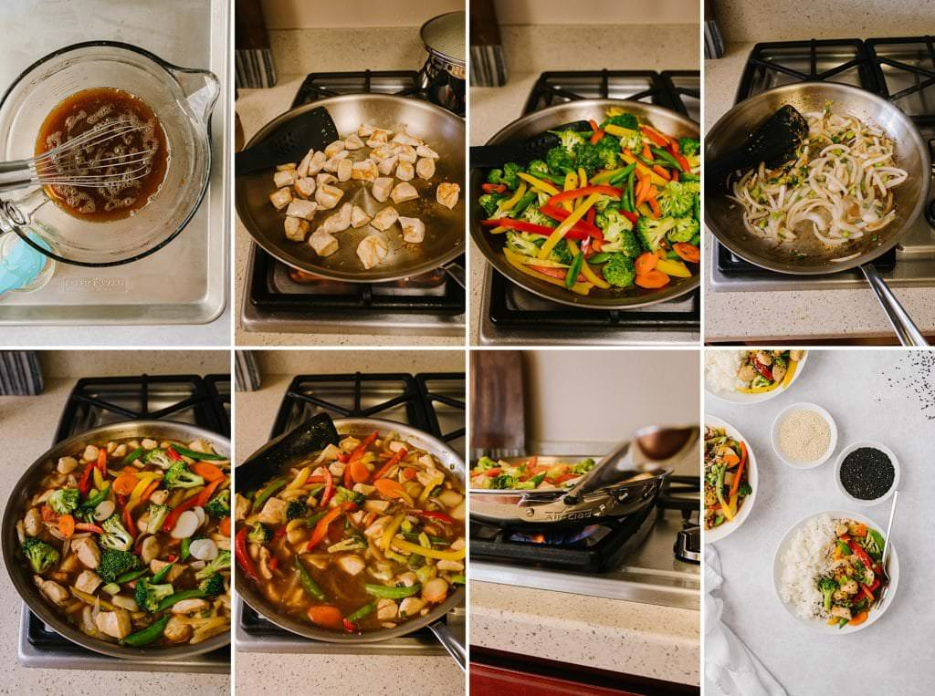 process shots for making healthier orange chicken and vegetables