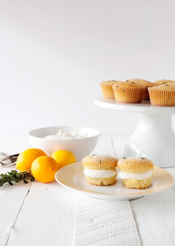 lemon thyme cupcakes with honey cream