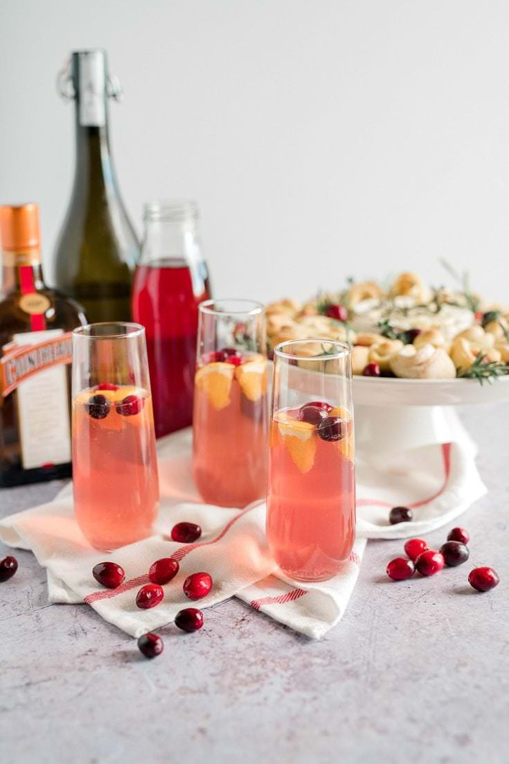 Poinsettia Cocktails // Prosecco with Orange and Cranberry