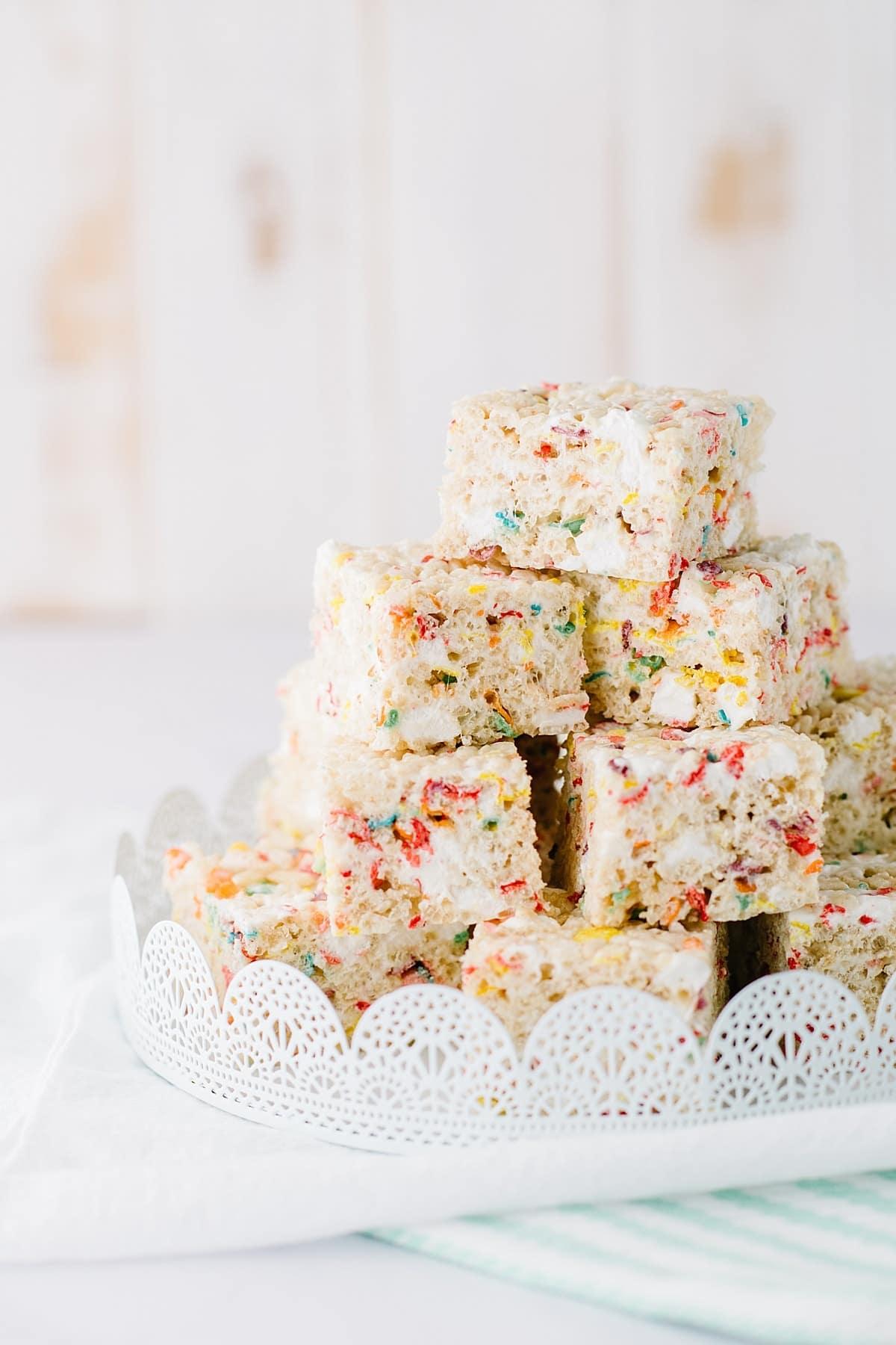Rainbow Rice Krispie Treats | Baked Bree