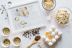 framed recipe for chocolate chip cookie pots