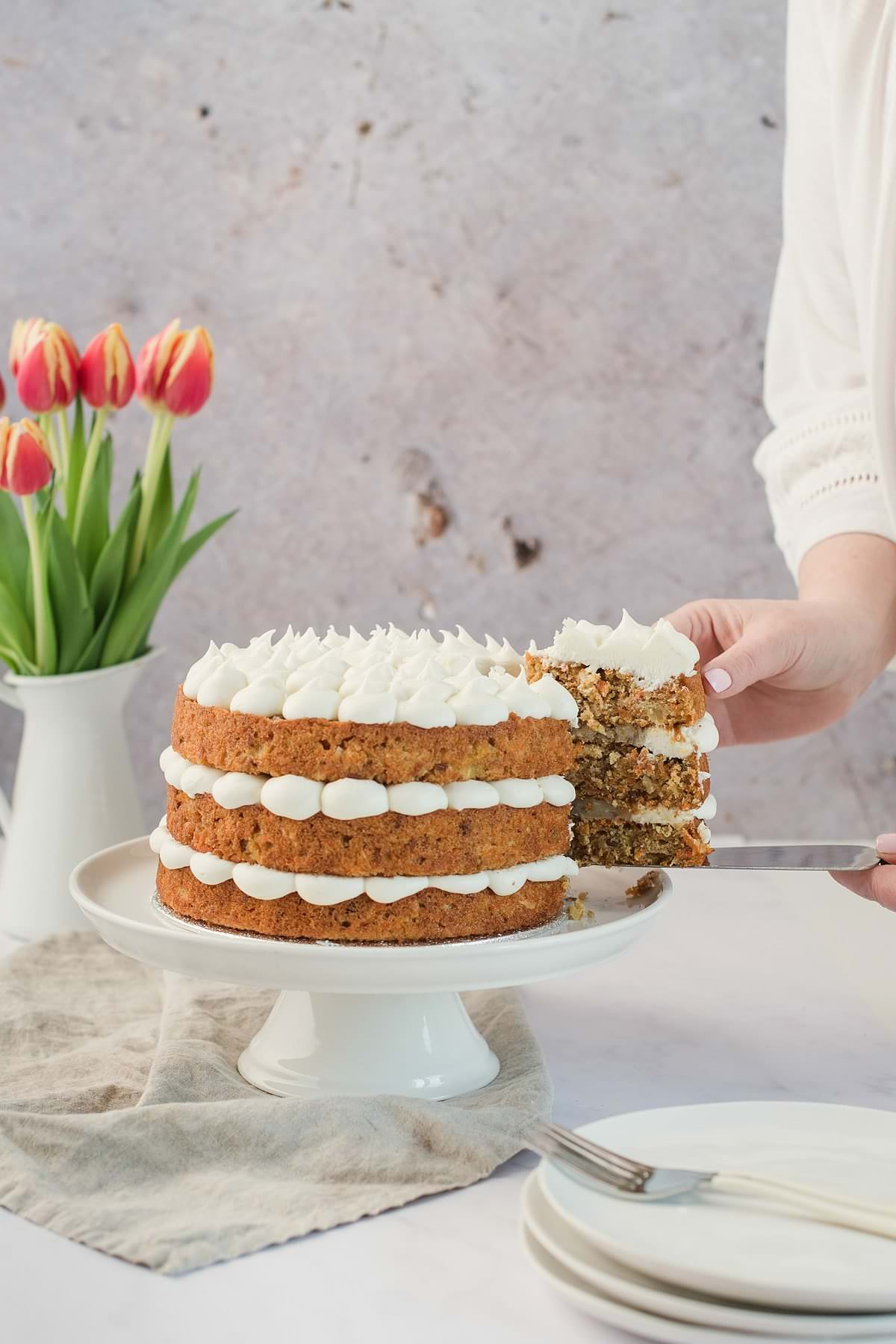 Frog Commissary Carrot Cake with Pecan Filling and Cream Cheese Frosting