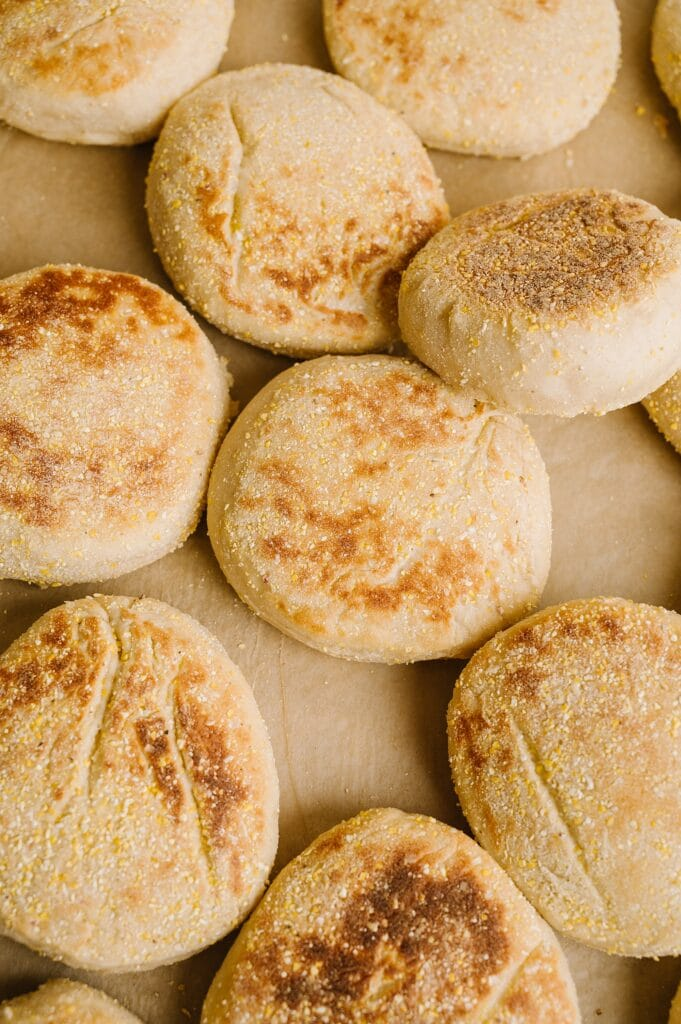 huckleberry english muffins fresh from the oven