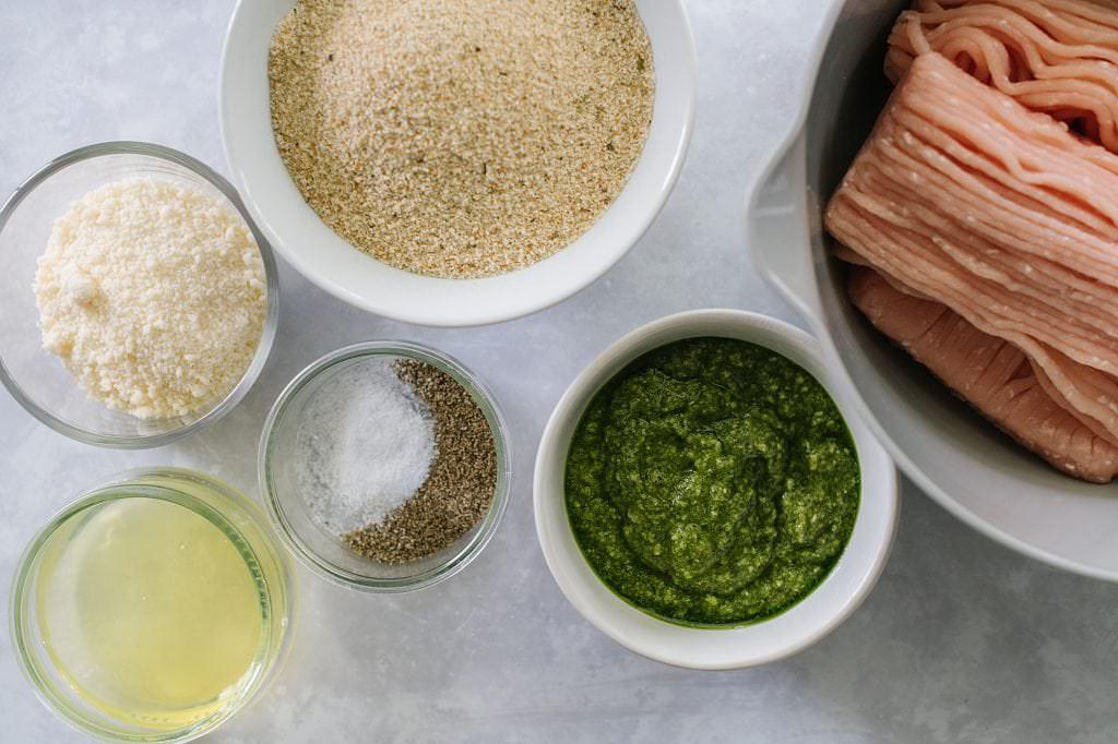 ingredients for turkey pesto meatballs