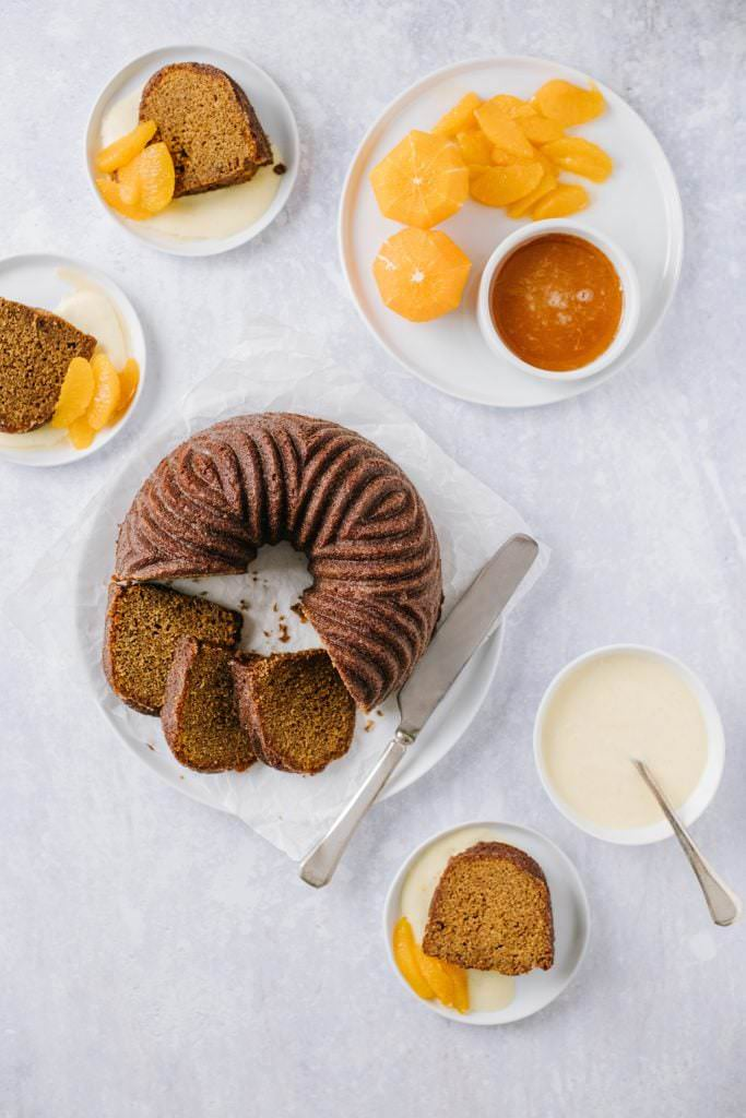 slices of gingerbread cake and orange segments