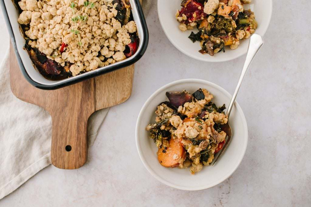 two dishes of roasted vegetable crisp