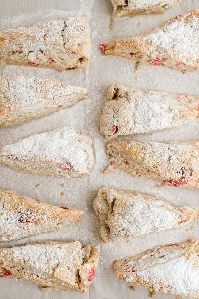 overhead shot of stollen scones on baking sheet