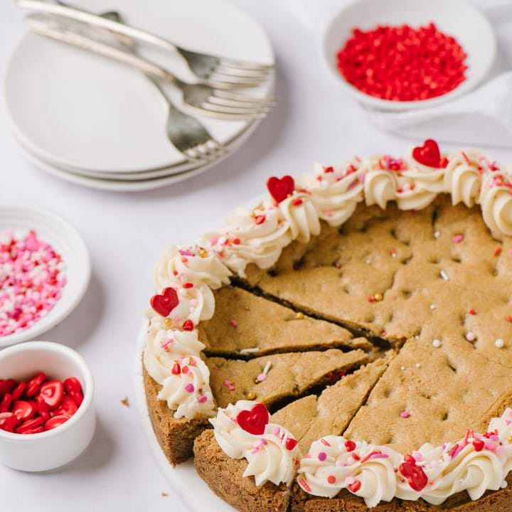 chocolate chip cookie cake decorated for Valentine's Day