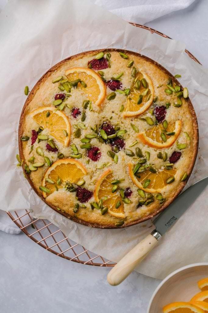 Raspberry Orange Pistachio Ricotta Cake Recipe