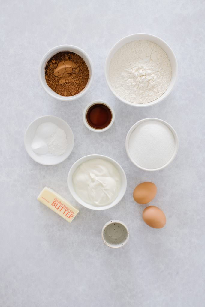 bowls of cocoa powder, yogurt, sugar, vanilla, eggs, butter, salt, flour