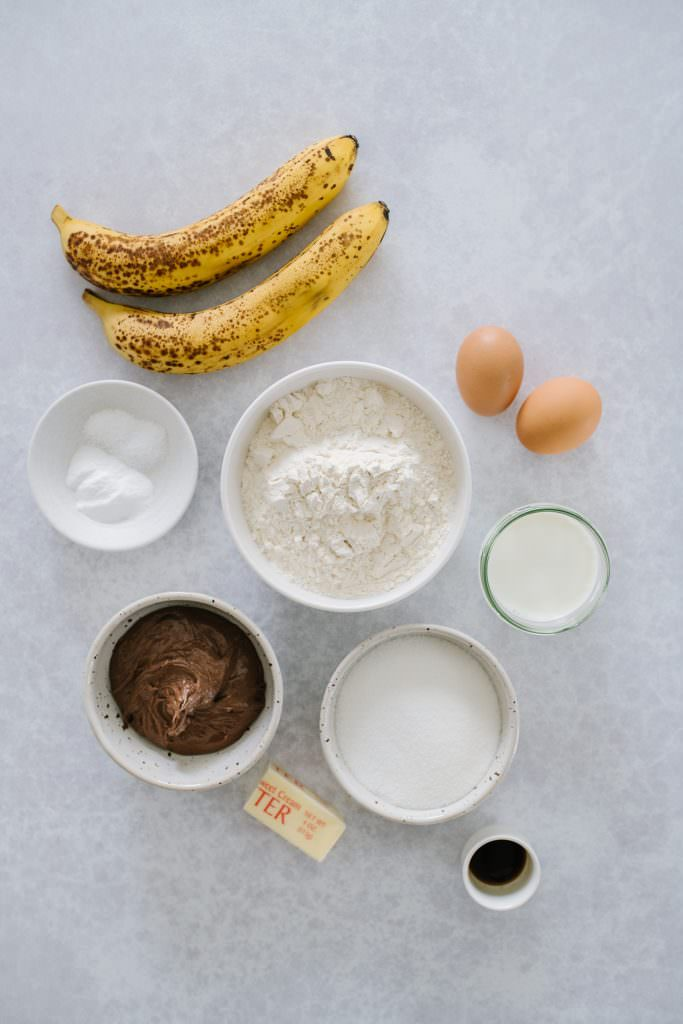 ripe bananas, sugar, eggs, flour, milk, nutella, butter