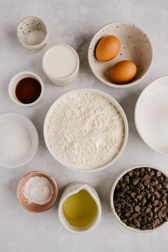 bowls of ingredients for chocolate muffins