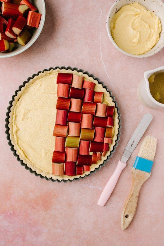 ingredients for rhubarb frangipane tarttart