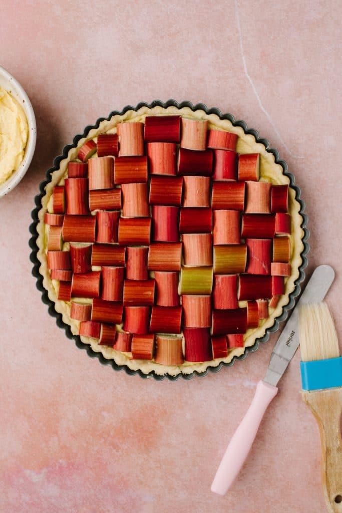 rhubarb in criss cross pattern in tart shell