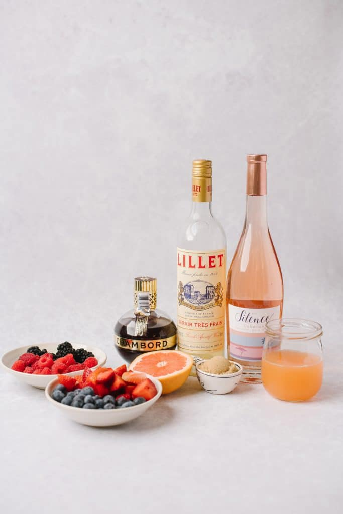 ingredients for sweet july rose sangria