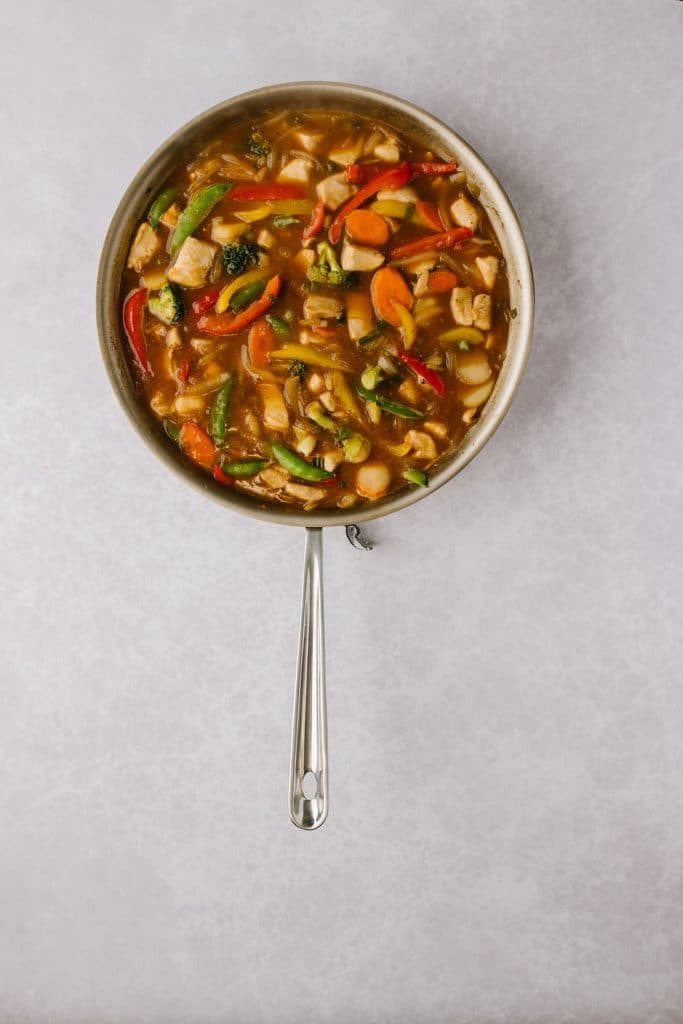 pan of orange chicken and vegetables