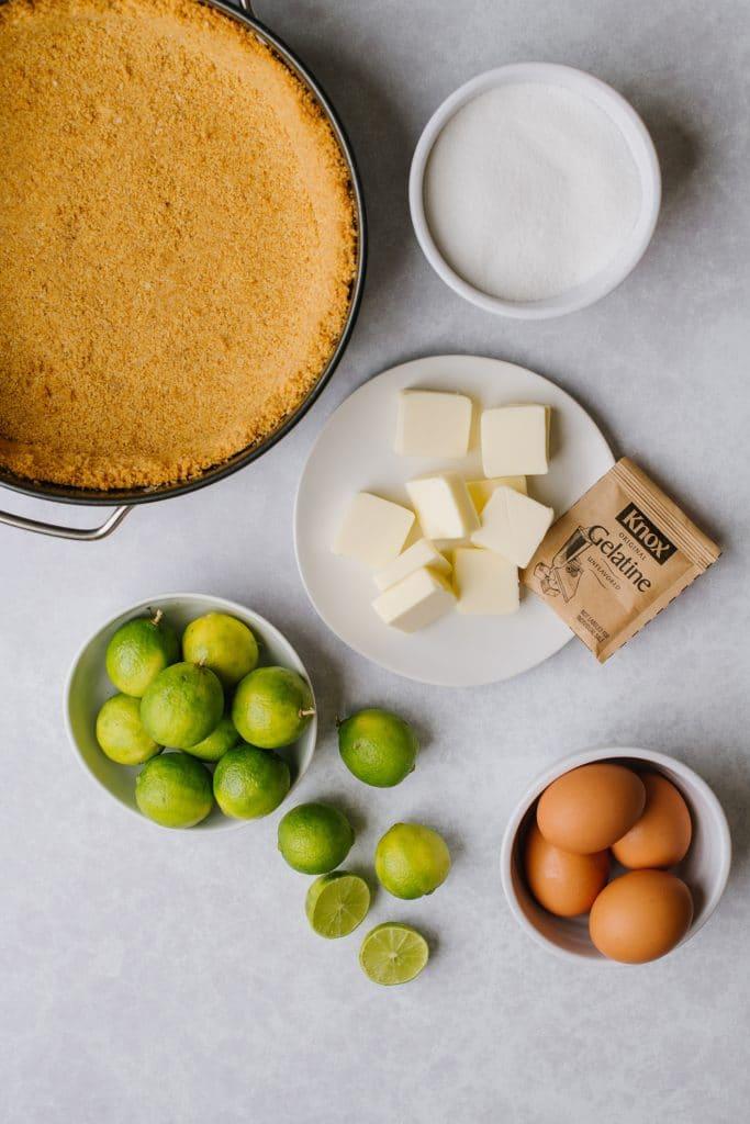 graham cracker crust, sugar, butter, key limes, eggs