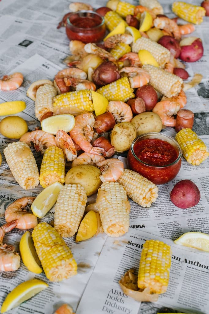 lowcountry boil recipe spread out on newspaper