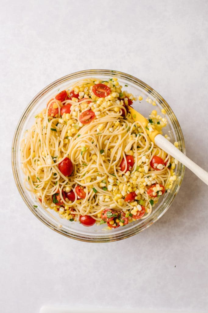 bowl of pasta with sweet corn gremolata