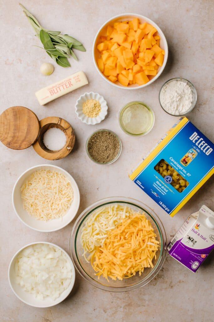 cubed butternut squash, pasta, butter, cream, cheese, rosemary, dry mustard, salt, pepper