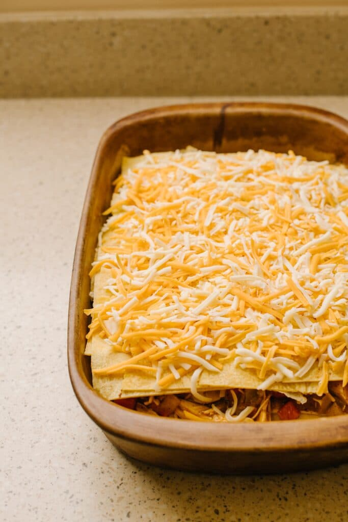 shredded cheese topped king ranch casserole