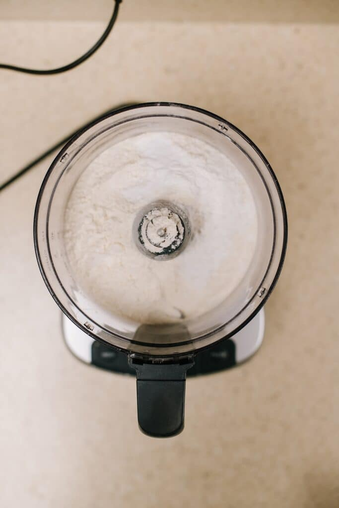 flour, sugar and salt in food processor