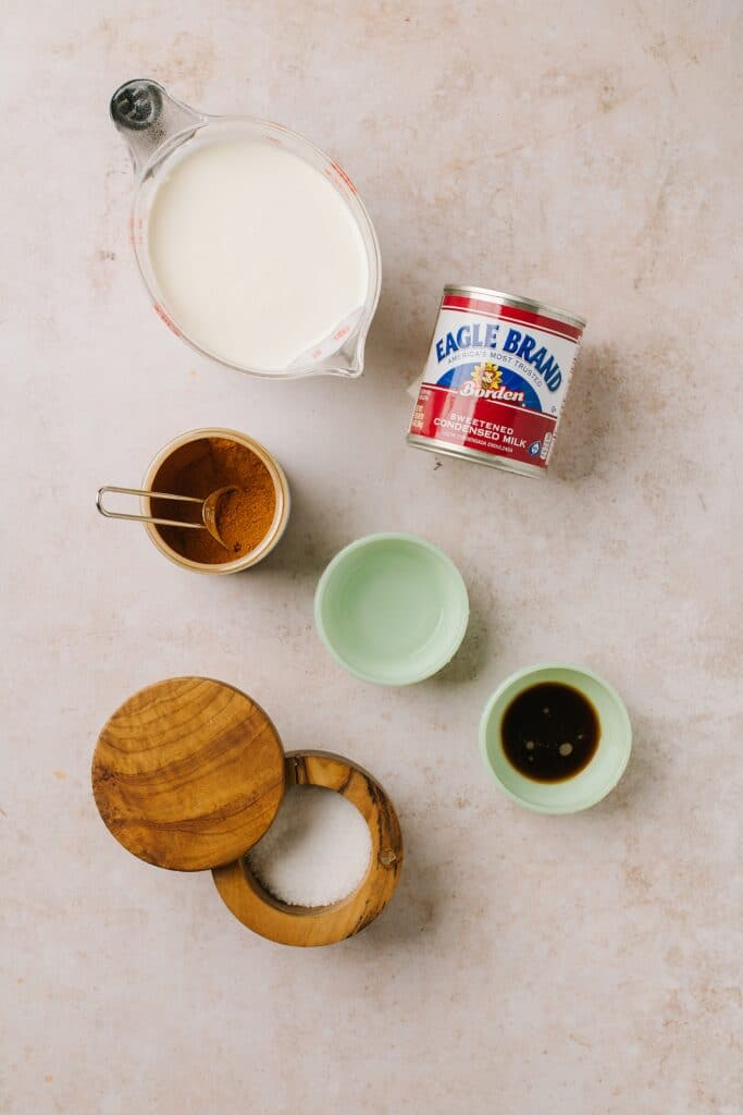 heavy cream, can of sweetened condensed milk, cinnamon, vodka, vanilla, salt