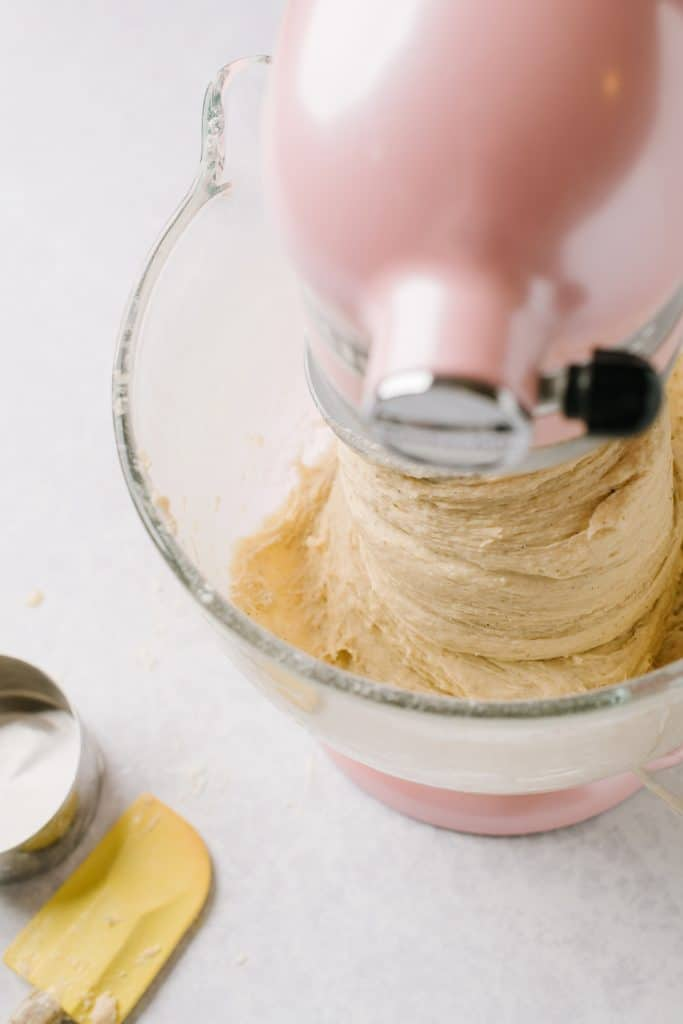 mixing cardamom bread dough in stand mixer