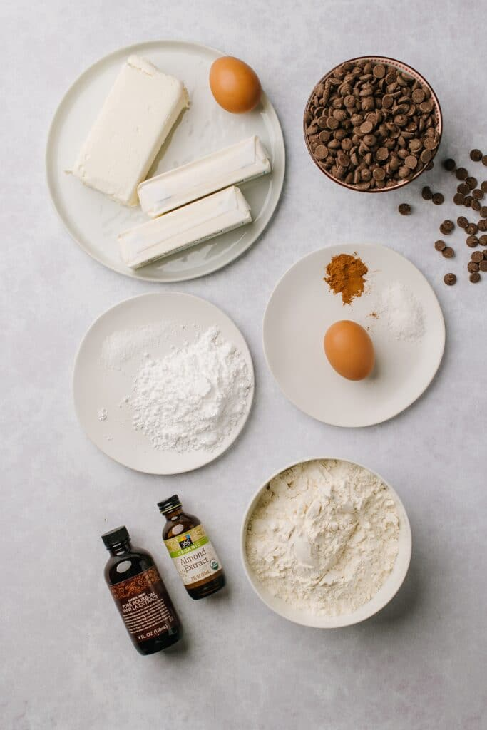 The ingredients for chocolate cinnamon rugelach