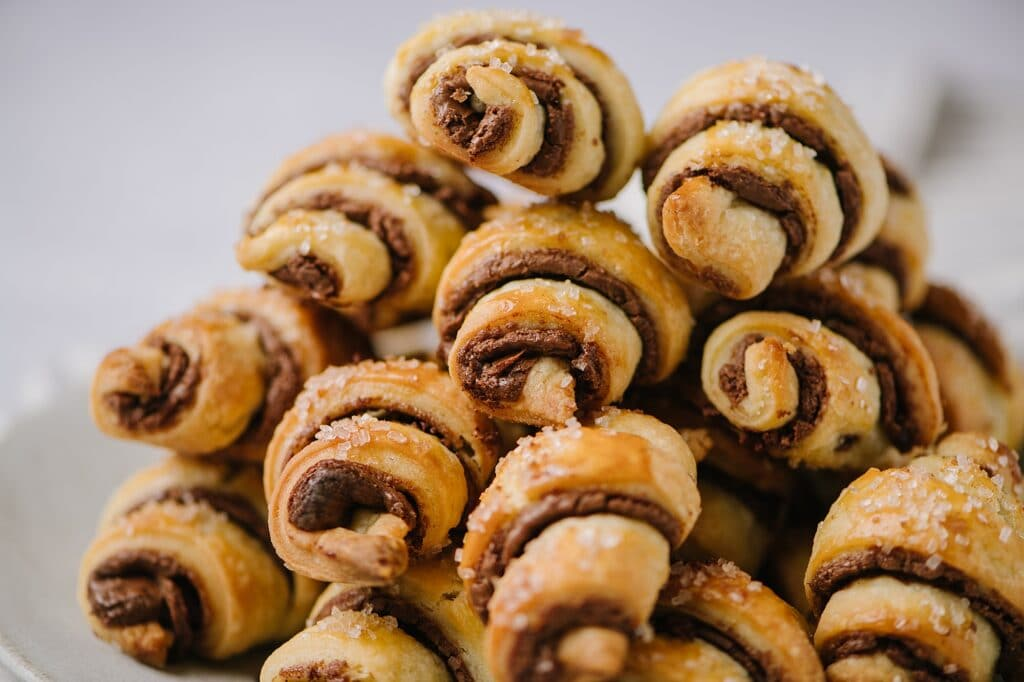A plate of chocolate cinnamon rugelachs
