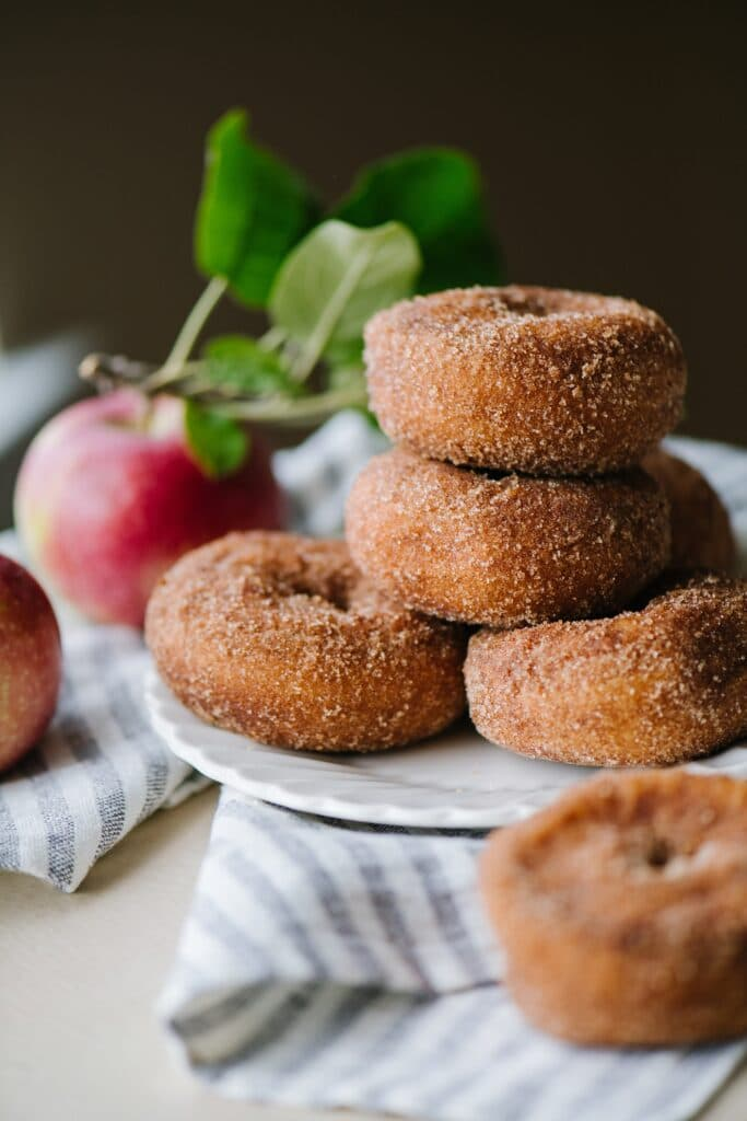 apple cider doughnuts on a plate