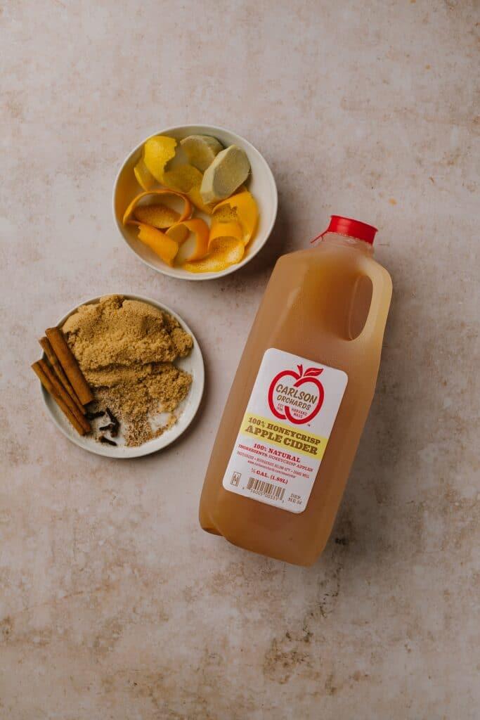 Ingredients for spiced apple cider cocktails base