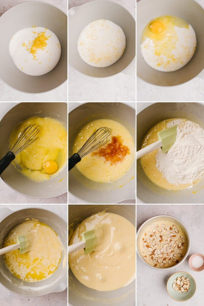Process shots for creating the batter for Swedish Visiting Cake