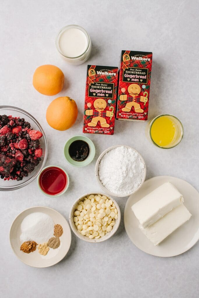 The ingredients for these no-bake white chocolate cheesecakes, shot from above