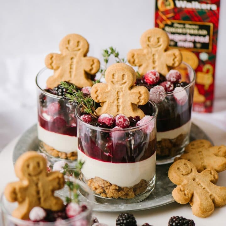 White Chocolate No Bake Cheesecakes, with a box of Walker's Shortbread Gingerbread Men
