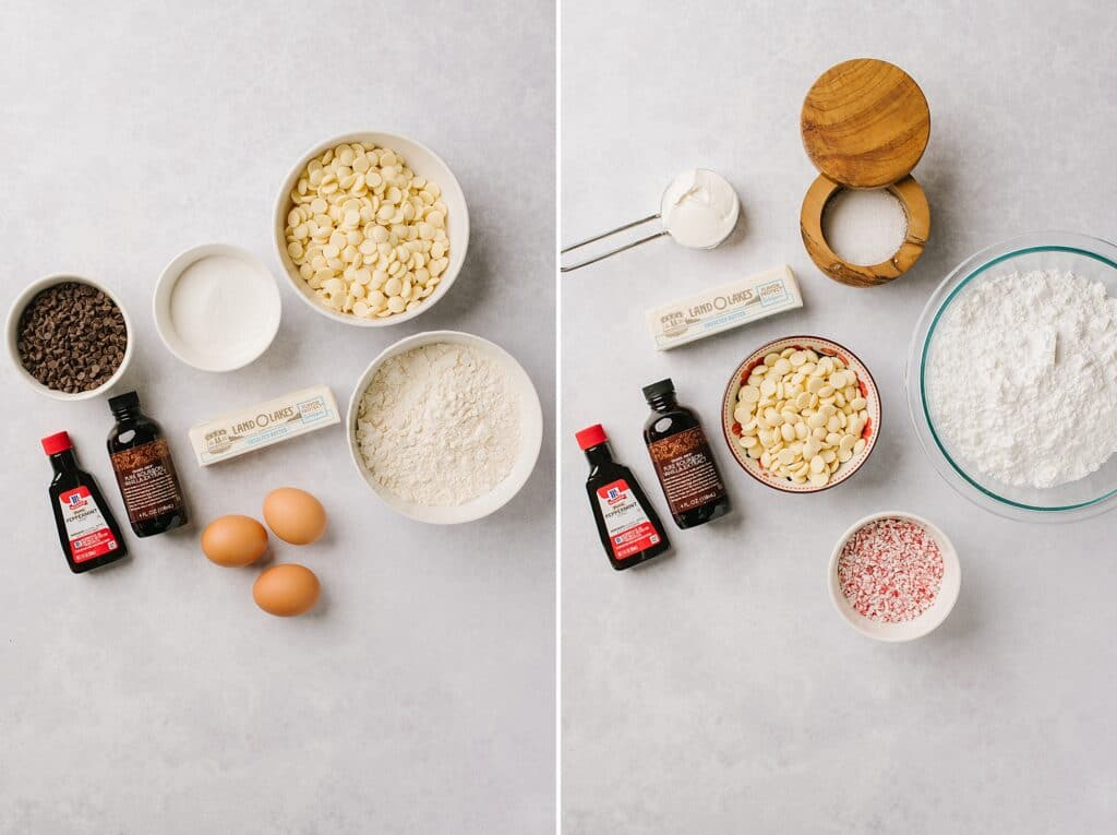 This is two photos showing the ingredients for the cookie bar on the left, and the peppermint frosting on the right.