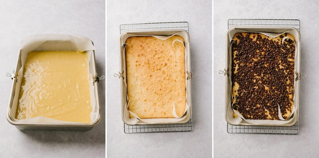 This is a process shot of the bars before baking, after baking, and after the addition of chocolate chips.