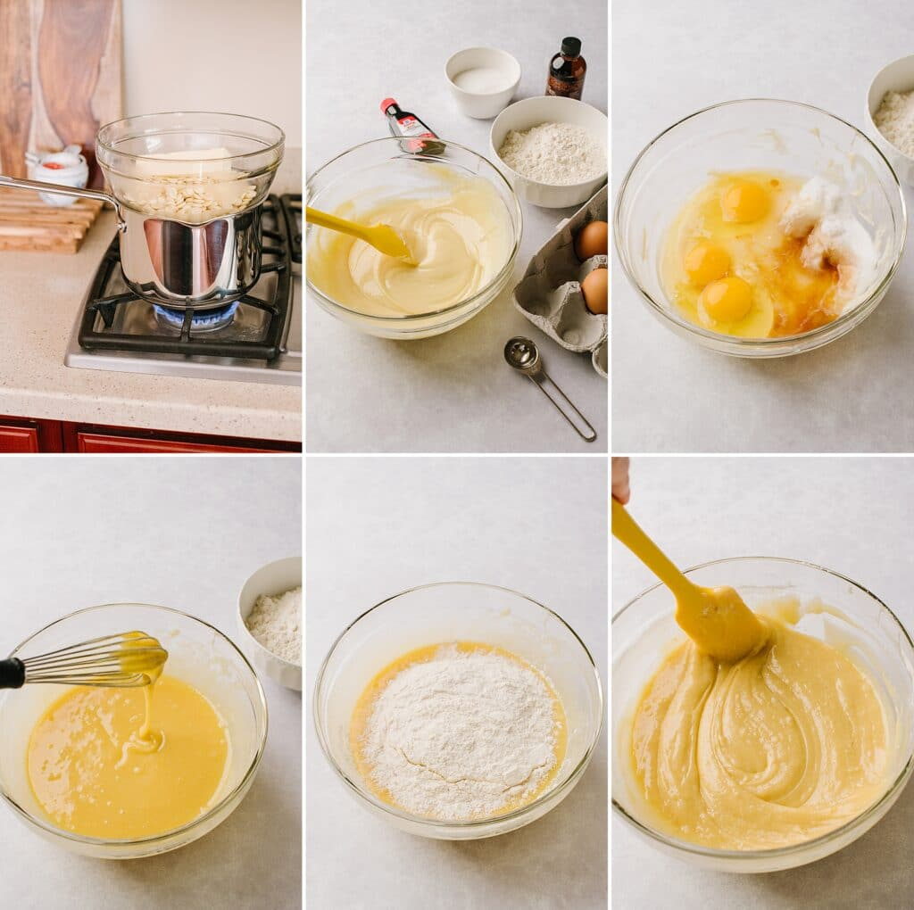 This is a collage of the initial steps of this recipe, ending with a prepared batter.