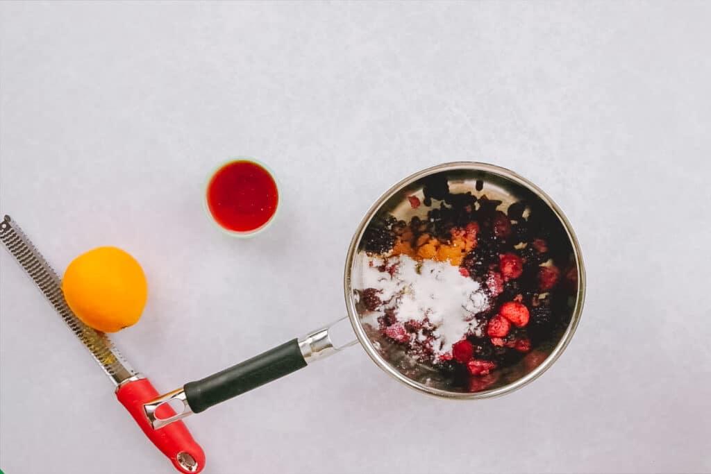 ingredients for mulled fruit in saucepan
