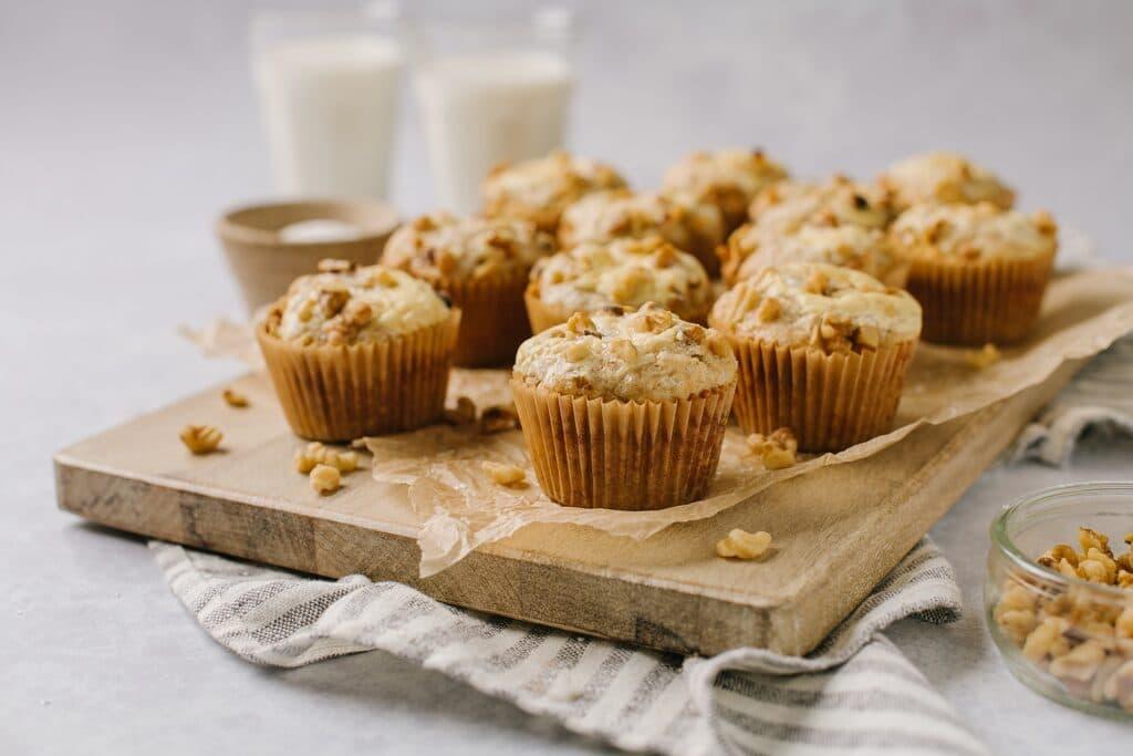 platter of banana cream cheese muffins