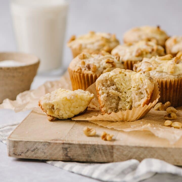 banana cream cheese muffin with a bite taken out