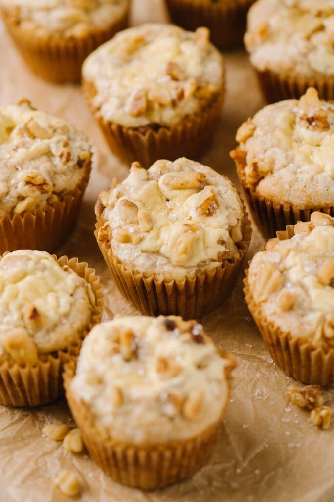 close up of banana cream cheese muffins
