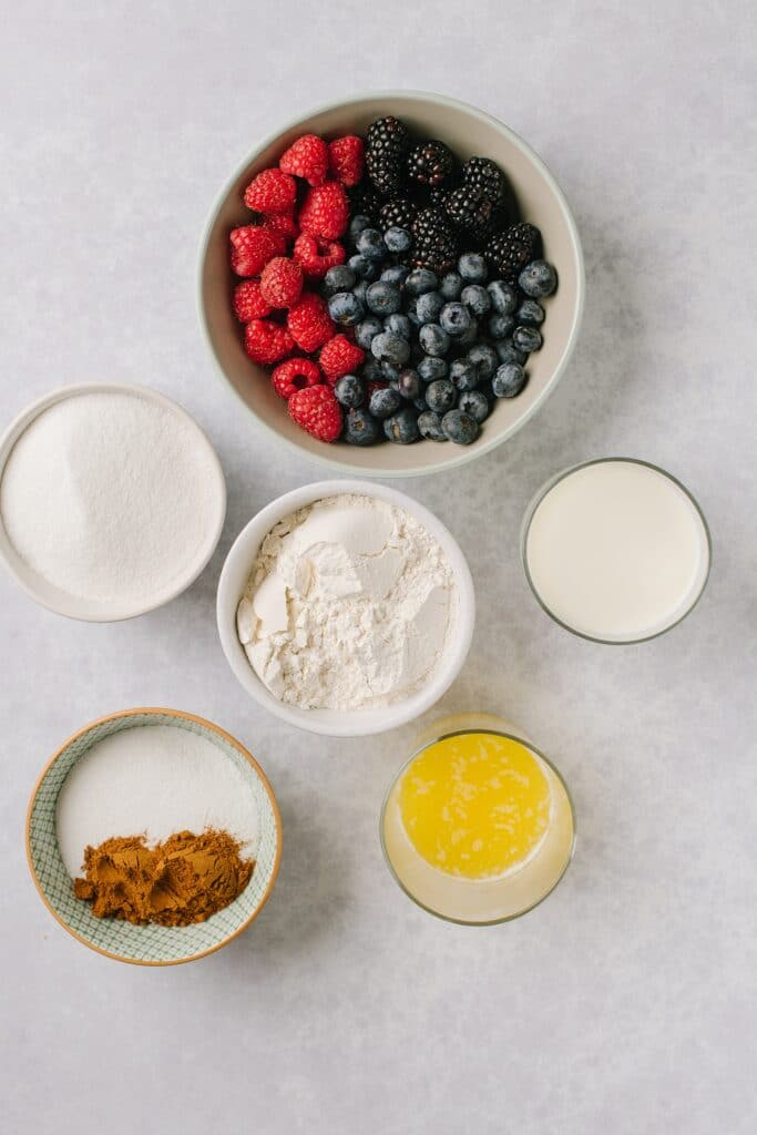 ingredients for Berry Cobbler with Cinnamon Crunch Topping