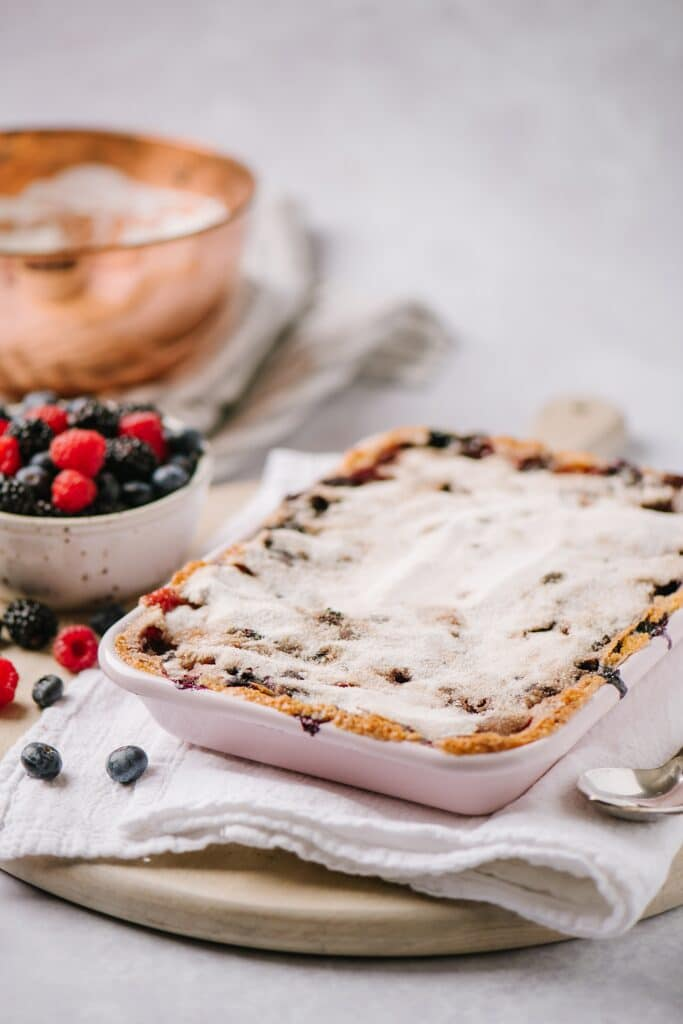 baked Berry Cobbler with Cinnamon Crunch Topping
