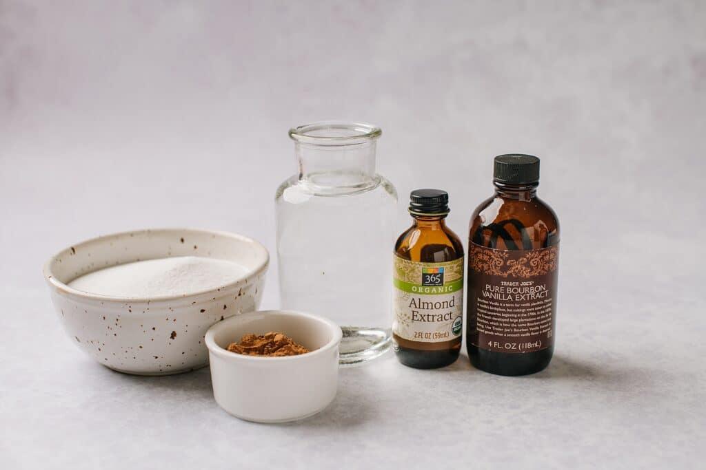 ingredients for making homemade irish cream syrup