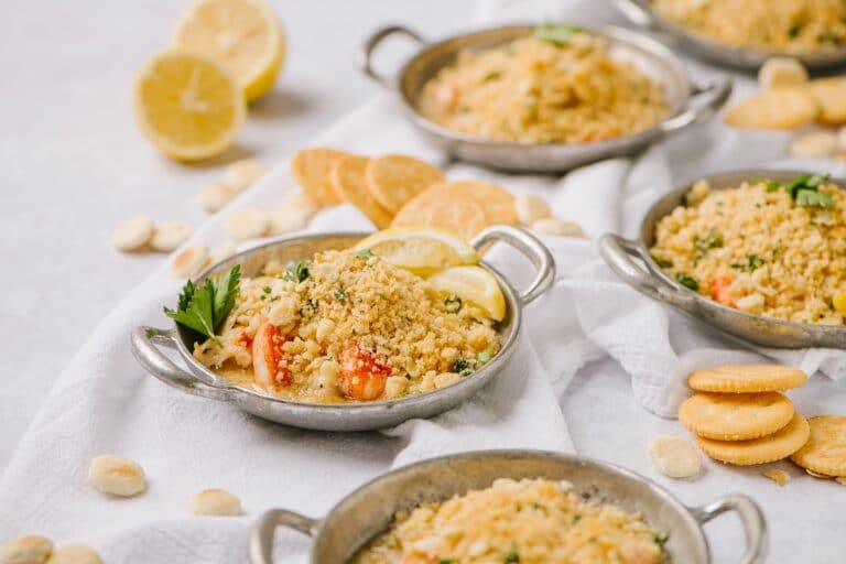 individual dishes of lazy lobster casserole with ritz cracker topping